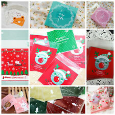 100 Self Adhesive Christmas Santa Cellophane Party Treat Cookie Candy Gift Bags