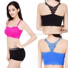 Women Lace Stretch Sport Bra Gym Yoga Padded Bra Crop Top Vest Bandeau Brassiere