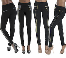 Ladies Women Sexy Black Leggings Trousers With Gold Zips Size  6  8 10 12 14