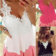 SEXY Womens Ladies Sleeveless Embroidery Lace Tops Chiffon Shirt Blouse Vest