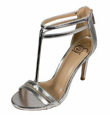 Irsia Delicious Peep Toe Gold Strappy High Heel Silver Metallic Leatherette
