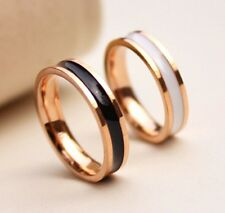 Size3~10 14K Rose Gold Filled Stainless Steel Jewelry Epoxy Plate Women's Rings
