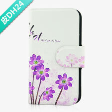 Purple Flower Pattern Magnetic PU Leather Flip Case Cover For Samsung Galaxy 24