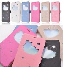 Hello Kitty Window Leather Flip Stand Case For Apple iPhone 5 5S / 6 / 6 Plus