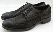 John Varvatos London Mens Dark Brown Leather Wingtip Oxford Shoes Made in Italy