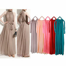 Women High Neck  Sleeveless Long Chiffon Evening Cocktail Party Maxi Dress New