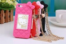 Hello Kitty Silicone Case Bag Gold Chain for iPhone 5 5S / 6 / 6 Plus / Samsung