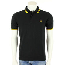 Vêtement Polo Fred Perry Homme Slim Fit Twin Tipped Shirt taille Noir Coton