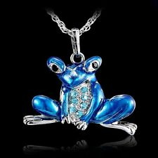 Silver Tone Frog Pond Costume Pendant Necklace Sweater Long Chain Jewelry gift