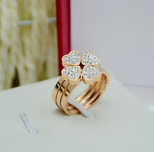 Size5~10 14K Gold Filled Stainless Steel Jewelry Four Leaf Clover Women's Rings