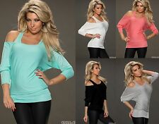 WOMENS LADIES OFF THE SHOULDER 2 in 1 CASUAL TUNIC SUMMER TOP SIZE 12 14 16 BNWT