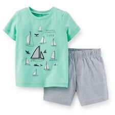 New Carter's Sailboat Applique Top & Stripe Shorts Set Outfit NWT 12 18 24 2 3 4