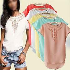 Fashion Summer Women's Loose T-shirt Chiffon Short Sleeve Casual Blouse TEE Tops