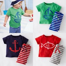 Fashion Baby Kids Boy Casual Sailor Suit Tops T-shirt & Pants 2pc Outfits set CA