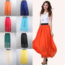 2015 New Womens Double Layer Pleated Long Maxi Dress Elastic Waist Skirt 8 Color