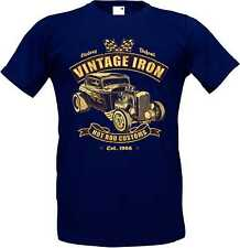 T-Shirt in Navy blue with a Hot Rod US Car &`50 Style Emotiv Model Vintage Iron