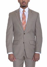 Michael Kors Modern Fit Tan Stepweave Two Button Wool Blend Suit