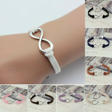 New Infinity Lucky 8 Friendship Handmade Leather Bracelet Bangle Jewelry Gift