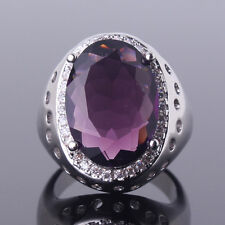 Sz6-Sz10!Vogue purple Swarovski Crystal 18k white gold filled lady Cathedra ring