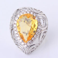 Sz6-Sz10!Exclusive mesh lady yellow Swarovski Crystal 18k white gold filled ring