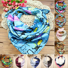 Plain Women Lady Square Flower Scarf Silk Headband Small Neckerchief Head Neck