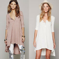 Summer High-Low Casual FREE PEOPLE Oversized Sexy Drippy Beach Tee DressS M L XL