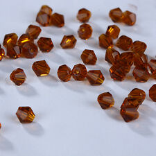Fashion DIY jewelry 3/4mm100/1000pcs Glass Crystal #5301 Bicone Beads Deep amber