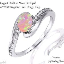 Elegant Oval Cut Pink Fire Opal White Sapphire CZ Genuine Sterling Silver Ring