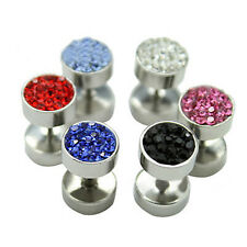 Men Women Eye-catching Punk Crystal Stainless Steel Barbell Ear Stud Earring Hot