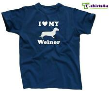 I HEART MY WEINER Love Dachshund Dog Cute Puppy Pet Funny T-Shirt - NEW - Blue