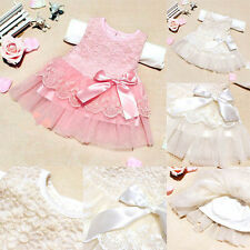 Baby Girls Sleeveless Lace Crochet Princess Dress Kids With Bow Belt Party Dress