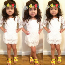 2015 New Kids Baby Girl Princess Flower Tutu Dress Party Formal Lace Skirt 2-11Y