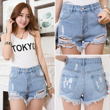 Fashion Women Girl High Waisted Casual Frayed Boyfriend Jeans Shorts Hot Pants