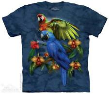 THE MOUNTAIN TROPICAL FRIENDS BIRD COLLAGE PARROT PARAKEET T TEE SHIRT S-5XL