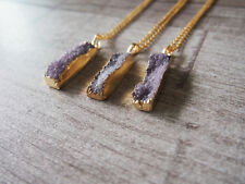 Agate Druzy Drusy Bar Gemstone Point Pendant Purple Gem Golden Edage Necklace