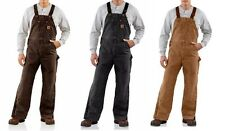 New Carhartt Quilt Lined Bib Overalls Sandstone Duck Insulated $150 All Sizes
