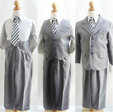 Toddler teen Boy Grey/Silver formal suit wedding graduation prom evening party