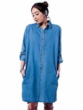 NEW WOMEN'S OVERSIZED DENIM DRESS/ BUTTON UP SHIRT DRESS