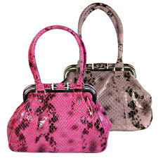 Ladies Womens Girls Purple Red Faux Snake Skin Satchel Metal Frame Bag Bags