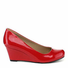 Yab Mid Heel Round Toe Wedge Pumps-Red