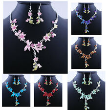Fashion Dragonfly Flower Acrylic Alloy Crystal Necklace and Earrings Jewelry Set