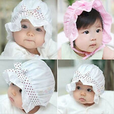 Cute Polka Dot Baby Girls Hat  Bow and Lace Sun Caps For Summer Choice of colour
