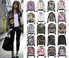 New Womens Ladies Vintage Floral Print Crop Bomber Jacket Zip Up Biker Coat Top
