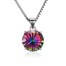 JewelryPalace Natural  Fire Rainbow Topaz Pendant Necklace 925 Sterling Silver