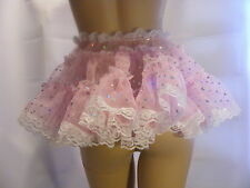 """SISSY ADULT BABY SEXY FANCY DRESS PINK ORGANZA MICRO MINI FRILLY SKIRT 11""""LONG"""