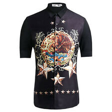Europe Style Men Eagle Totem Pattern Futuristic Short Sleeve Casual Dress Shirt