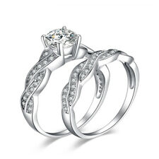 Infinity 1.5ct CZ Engagement Wedding Bridal Set Ring 925 Sterling Silver Sz 5-10