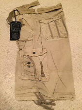 NWT Men's Marx & Dutch Khaki Beige Solid Belted Cargo Shorts ALL SIZES