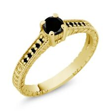 0.34 Ct Round Black AAA Diamond 18K Yellow Gold Engagement Ring
