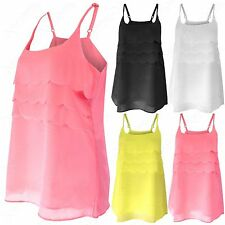 NEW LADIES STRAPPY CHIFFON LAYER FRONT VEST WOMENS CAMI THIN STRAP LONG TOP LOOK